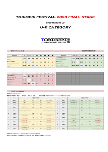 【U-11 1226結果】TOBIGERI FESTIVAL 2020 FINAL STAGE